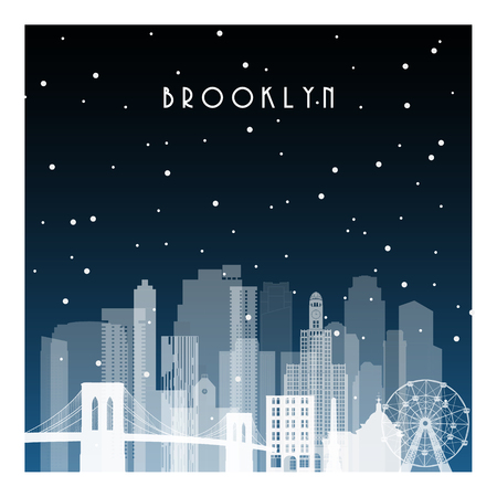 Winter night in Brooklyn. Night city in flat style for banner, poster, illustration, background.  イラスト・ベクター素材