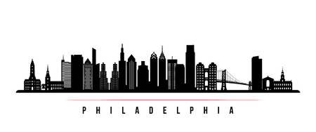 Philadelphia city skyline horizontal banner. Black and white silhouette of Philadelphia. Vector template for your design.