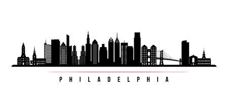 Philadelphia city skyline horizontal banner. Black and white silhouette of Philadelphia. Vector template for your design. Archivio Fotografico - 127174928