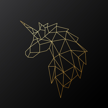 Golden polygonal Unicorn illustration isolated on black background. Geometric animal emblem. Vector illustration.