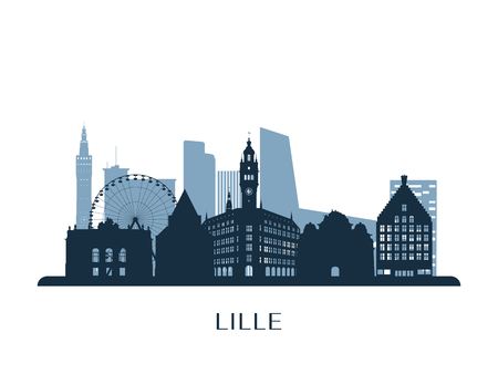 Lille skyline, monochrome silhouette. Vector illustration.