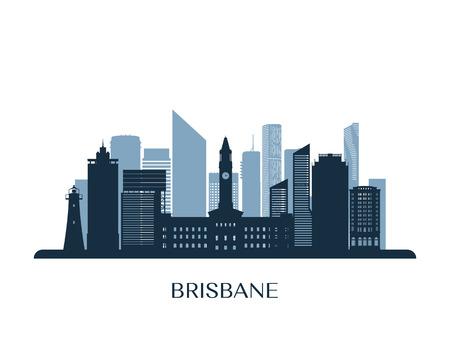Brisbane skyline, monochrome silhouette. Vector illustration. Illustration