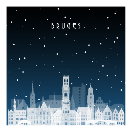 Winter night in Bruges. Night city in flat style for banner, poster, illustration, background.