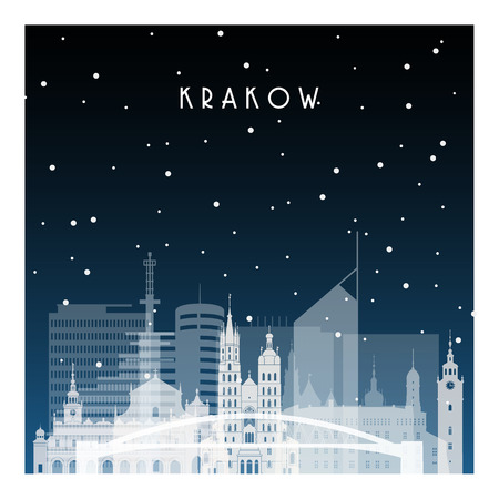 Winter night in Krakow. Night city in flat style for banner, poster, illustration, background. Ilustração