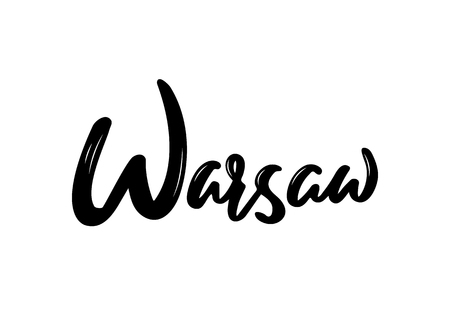 Warsaw - hand drawn lettering name of Poland city. Handwritten inscription. Vector illustration.