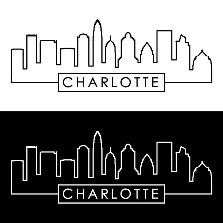Charlotte skyline. Linear style. Editable vector file.
