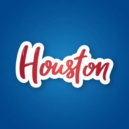 Houston - hand drawn lettering name of USA city. Sticker with lettering in paper cut style. Vector illustration.