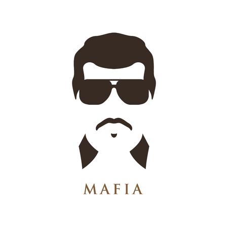 Homme latino avec moustache, portant des lunettes de soleil sombres. Portrait de mafieux. Illustration vectorielle.