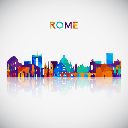 Rome skyline silhouette in colorful geometric style. Symbol for your design. Vector illustration.