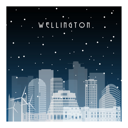 Winter night in Wellington. Night city in flat style for banner, poster, illustration, background.