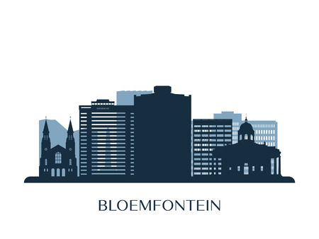 Bloemfontein skyline, monochrome silhouette. Vector illustration.