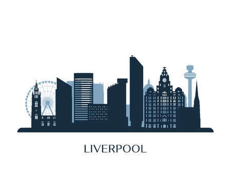 Liverpool skyline, monochrome silhouette. Vector illustration.