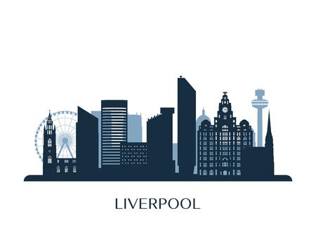 Liverpool skyline, monochrome silhouette. Vector illustration. Stok Fotoğraf - 126749509