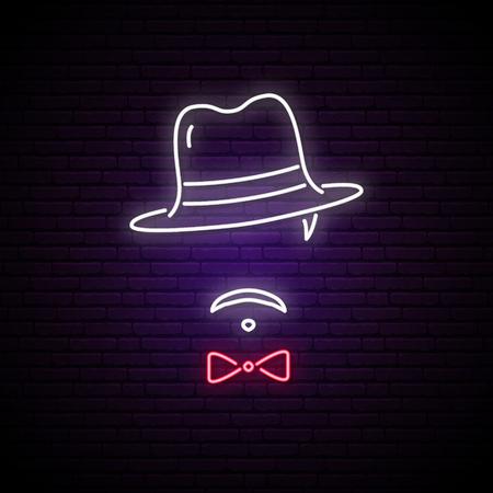 Enseigne au néon d'hommes dans un chapeau. Emblème lumineux du mafieux. Illustration vectorielle.