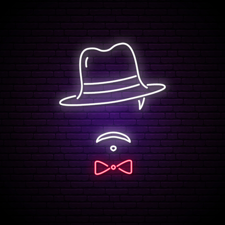 Neon sign of men in a hat. Bright emblem of mafioso. Vector illustration.