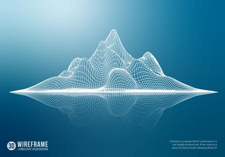 Abstract wireframe mountain with reflection. 3D grid technology illustration landscape. Vector illustration. Ilustração Vetorial