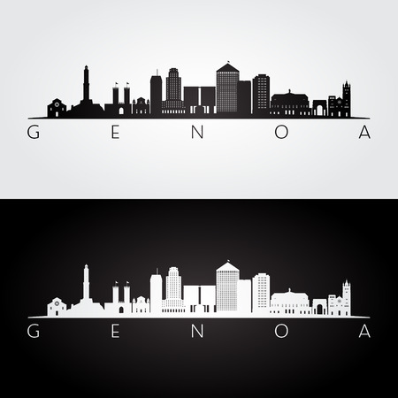 Genoa skyline and landmarks silhouette, black and white design, vector illustration.