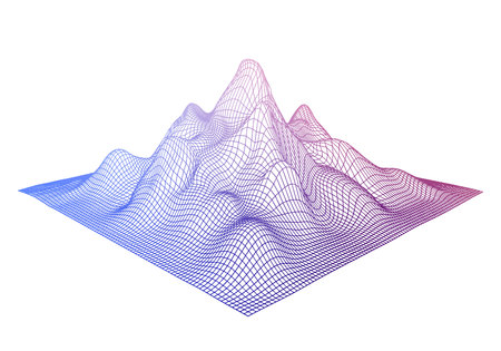 Abstract wireframe background. Vector 3D grid. Digital Cyberspace landscape. Vecteurs