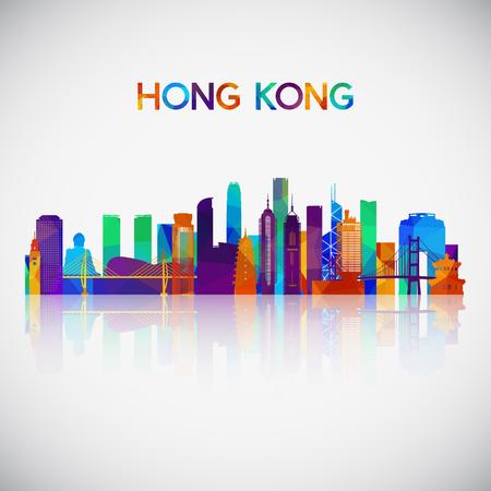 Skyline von Hongkong Silhouette im bunten geometrischen Stil. Symbol für Ihr Design. Vektor-Illustration.