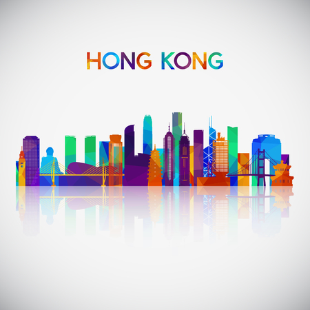 Hong Kong skyline silhouette in colorful geometric style. Symbol for your design. Vector illustration.