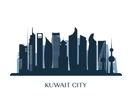 Kuwait city skyline, monochrome silhouette. Vector illustration.