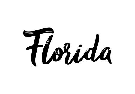 Florida - nombre de letras dibujadas a mano del estado de Estados Unidos. Inscripción manuscrita. Ilustración vectorial. Ilustración de vector