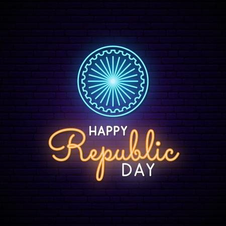 Happy India Republic Day neon design. Vector light signboard. 矢量图像
