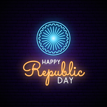 Happy India Republic Day neon design. Vector light signboard. Illustration