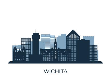 Wichita skyline, monochrome silhouette. Vector illustration. Фото со стока - 116096471