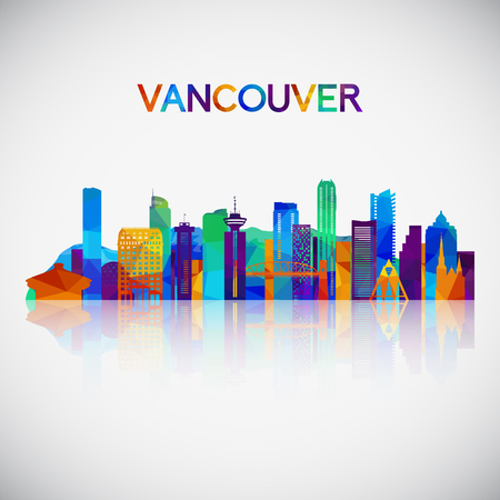 Vancouver skyline silhouette in colorful geometric style. Symbol for your design. Vector illustration.