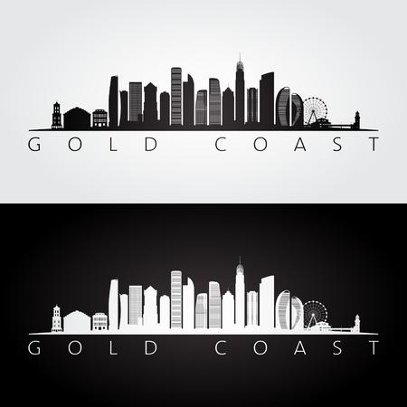Gold Coast Skyline und Wahrzeichen Silhouette, Schwarz-Weiß-Design, Vektor-Illustration.