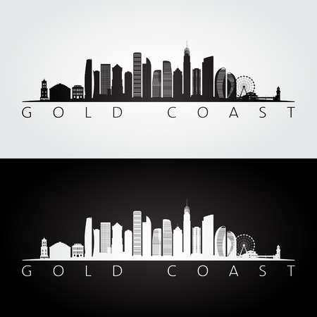Silhouette d'horizon et de points de repère de la Gold Coast, design noir et blanc, illustration vectorielle.