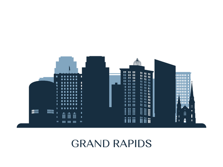 Grand Rapids skyline, monochrome silhouette. Vector illustration.