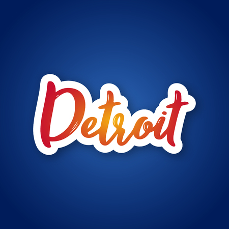 Detroit - handwritten name of US city. Sticker with lettering in paper cut style. Vector illustration.