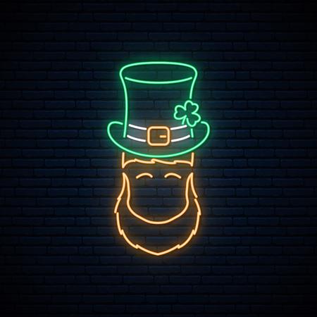 Neon leprechaun with Patricks green hat and orange beard. St. Patrick's day neon banner.