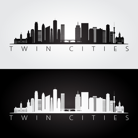 Twin cities USA skyline and landmarks silhouette, black and white design, vector illustration. Ilustração