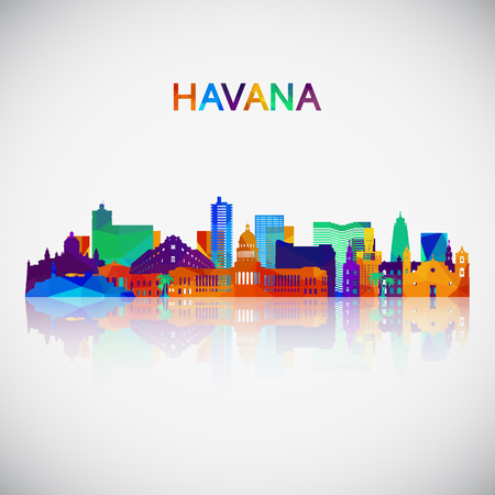 Havana skyline silhouette in colorful geometric style. Symbol for your design. Vector illustration.