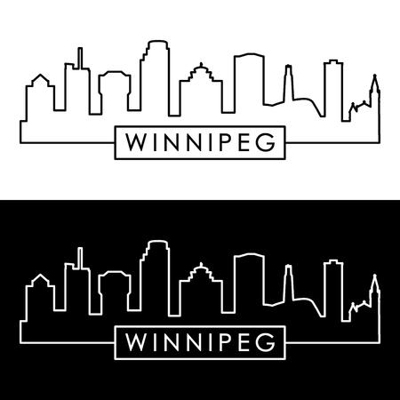 Winnipeg skyline. Linear style. Editable vector file. Illustration