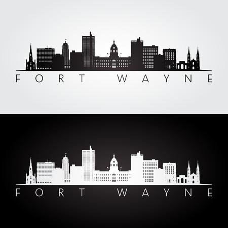 Fort Wayne USA skyline and landmarks silhouette, black and white design, vector illustration. Vecteurs
