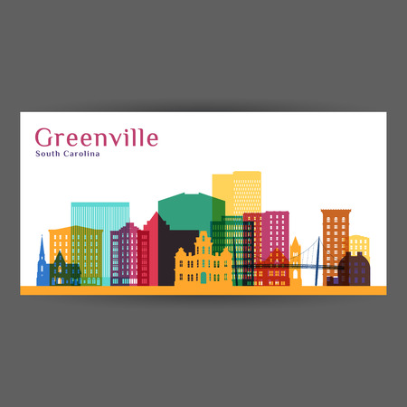 Greenville city architecture silhouette. Colorful skyline. City flat design. Vector business card.