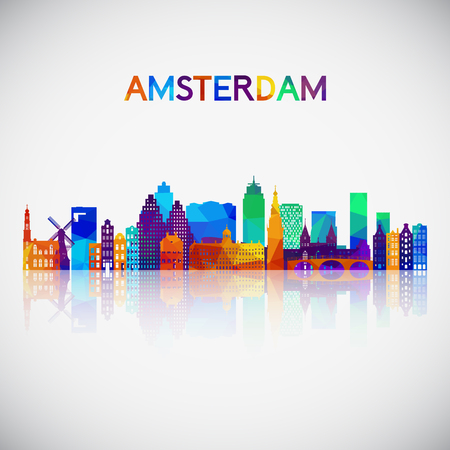 Amsterdam skyline silhouette in colorful geometric style. Symbol for your design. Vector illustration. Illusztráció