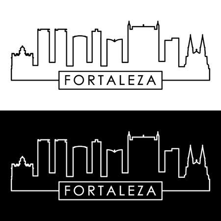 Fortaleza skyline. Linear style. Editable vector file.