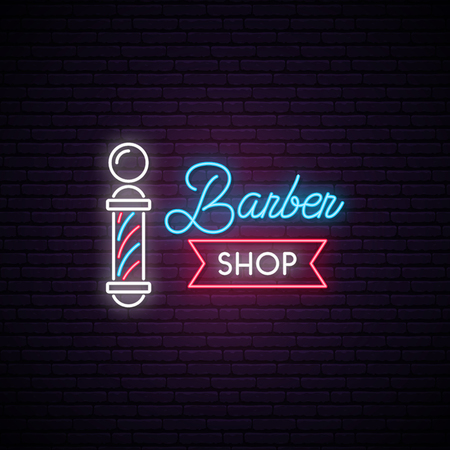Barbershop neon sign. Retro Hairdressing Emblem. Advertising light banner. Vector illustration in neon style. 矢量图像