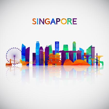 Silhouette d'horizon de Singapour dans un style géométrique coloré. Symbole pour votre conception. Illustration vectorielle. Vecteurs