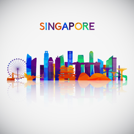 Singapore skyline silhouette in colorful geometric style. Symbol for your design. Vector illustration.