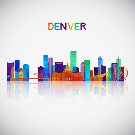 Denver skyline silhouette in colorful geometric style. Symbol for your design. Vector illustration. Иллюстрация