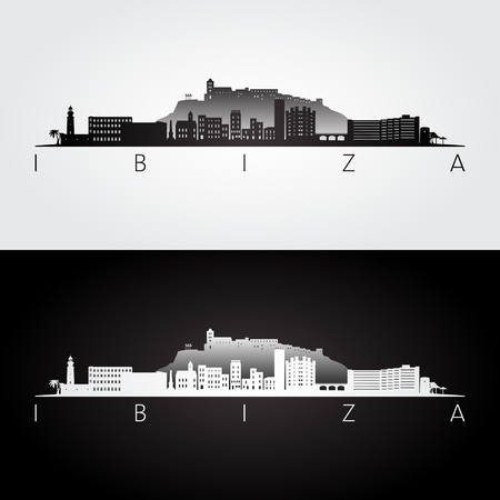 Ibiza skyline and landmarks silhouette, black and white design, vector illustration.