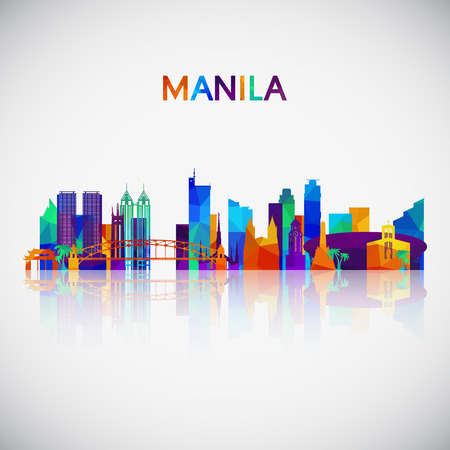 Manila skyline silhouette in colorful geometric style. Symbol for your design. Vector illustration.  イラスト・ベクター素材