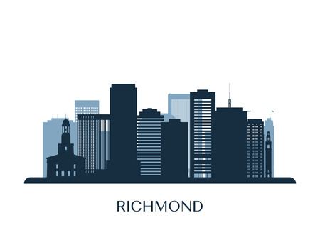 Richmond skyline, monochrome silhouette. Vector illustration. 矢量图像