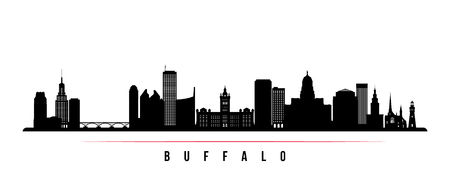 Buffalo city skyline horizontal banner. Black and white silhouette of Buffalo USA city. Vector template for your design. Ilustração
